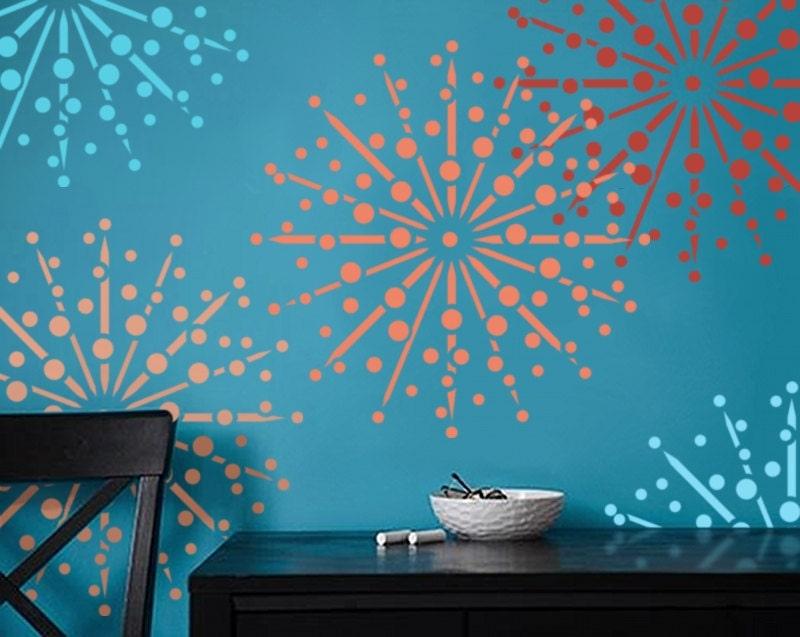Wall Stencil Firework Burst DIY Home Decor Three Sizes