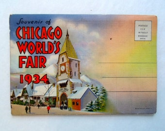 Vintage Chicago Worlds Fair 1934  Souvenir Folder  Futurist  and Countries of the World Postcard Collection