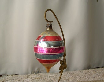 Vintage Christmas Ornament Pink and Red Striped Ornament Silver Ornament Christmas Tree Tear Drop Glass Ornament 1950s