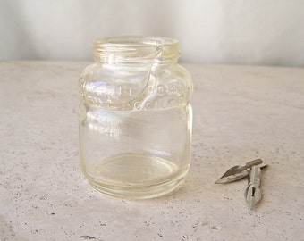 Vintage Ink Well Clear Glass Sheaffer's Skrip Ink Bottle with Tilt Fill Well Calligraphy Writer 1950s