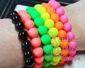 Neon Rainbow Glass Beads Stacking Bracelet, Choose One Color, Birthday Gift, Holiday Gift