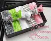 Lime, Pink, Silver Sparkle and Chevron Pack of Elastic Hair Ties, Shirt Ties, Wristlette, Gift Pack, Girly Seahawks Theme