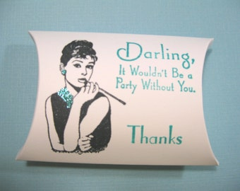 10 Audrey Hepburn Breakfast at Tiff... Bridal Shower Favor Boxes - Aqua - Pool Blue - Gift Boxes - Pillow Box - Wedding Favors - Candy Boxes