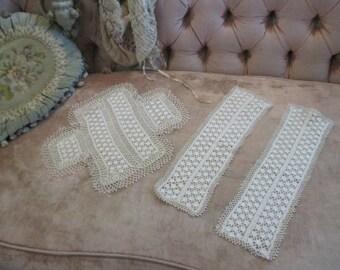 3 Pc Set Vintage Shabby Chic Doily Crochet Lace Ivory Tan Dresser Panel E7