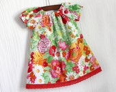 Pop Red orange yellow and green garden peasant boutique dress in Size 0-3, 3-6, 6-9, 9-12, 12-18 18-24 months and 3T