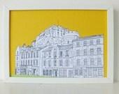 Edinburgh Castle Print, Grassmarket, Sunshine Yellow print, Spring Colours, art, Scottish art, Picture of Edinburgh, Scotland