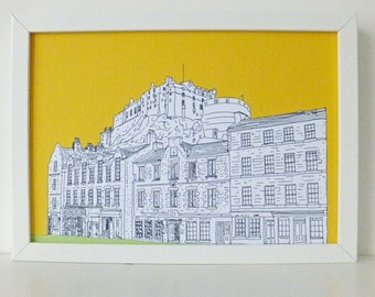 Edinburgh Castle Print, Grassmarket, Sunshine Yellow print, Spring Colours, art, Scottish art, Picture of Edinburgh, Scotland