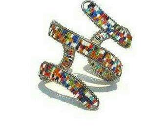 Multi colored Beaded steel cuff
