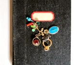 Pocket Wedding Guest Book - Black Notebook with Charm Assemblage - Travel Notebook - Diary - Vintage Paper Pack