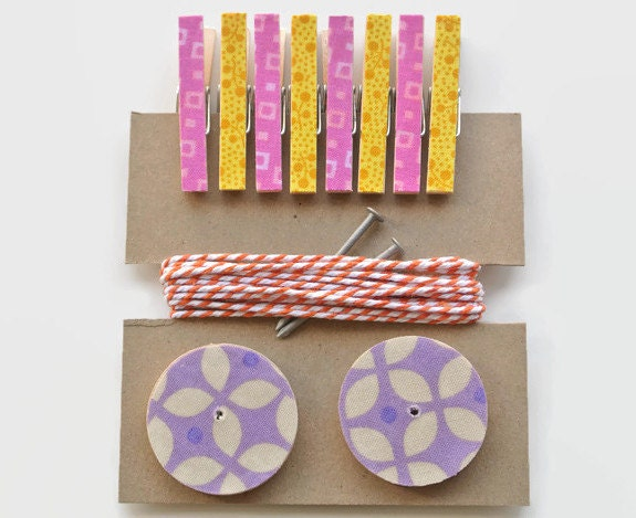 Photo Hanging Kit ~ Kid's Art Hanging Kit  ~ Art Display Kit ~ Pink, Yellow, Orange and Lavender