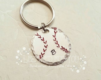 Handstamped Baseball Necklace pendant keychain
