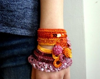Crochet Bead Cuff - Bracelet - crocheted statement bracelet,crochet bracelet, crochet cuff,crocheted flowers, beaded cuff, sequins