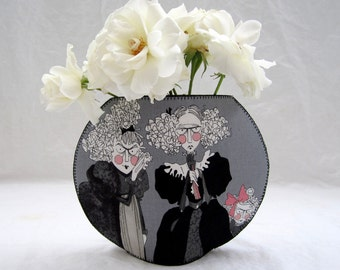 Lettice, Lovage and Walter fishbowl fabric vase ghastlies old ladies old man Victorian