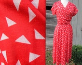 Red & White Vintage Triangle Day Dress