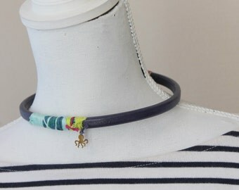 leather chocker with octopus