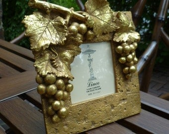 Picture Frame. Photo Frame. Grapes & Leaves, Gold, Applied. Vintage Linco Standing Picture Frame. Wine Vineyard Wedding Decor.