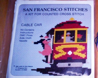 Vintage 1985 CROSS STITCH Kit   * San Francisco Cable Car - DMC Floss - 14 count Aida Cloth Needle - Judith Kirby Counted Cross Sititch New