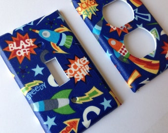 Rocket Ship Light Switch Plate/ Spaceship Bedroom / Boy Room Decor/ Nursery Decor/ Double Toggle Light Switch Cover/ Outer Space Room