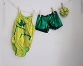 Girls Gymnastics Leotard in Greens on Bars  2t, 3t, 4t, 5t, 6,7, 8, 9, 10, 11, 12, 13, 14