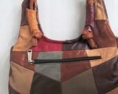 Patchwork Leather Purse, Hippy Purse, Boho Purse. Leather Purse