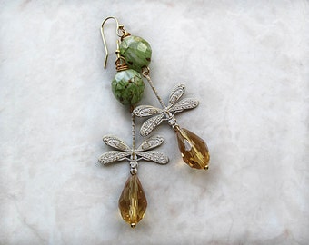 Dragonfly Earrings, Boho Chic, Bohemian Earrings, Long Earrings, Boho Jewelry