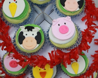 Farm Animal Cupcake Toppers , Barnyard Cupcake Toppers, Fondant Farm Animals, Fondant Farm Cupcake Toppers, Cow, Pig, Chick, Rooster