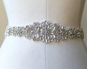 Elegant Beaded Crystal Bridal Ribbon Sash. Rhinestone Applique Wedding Belt. 17 3/4 inches. JEWEL CRYSTAL II