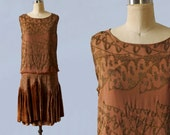 1920s Dress / 20s Gold Lamé Embroidered Deco Flapper Dress / Ruched Layered Velvet Skirt