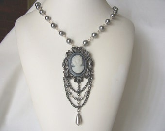cameo necklace, gray necklace, Victorian inspired necklace, Gothic style, Spring 2016 fashion trends, ooak fashion jewelry, gift idea