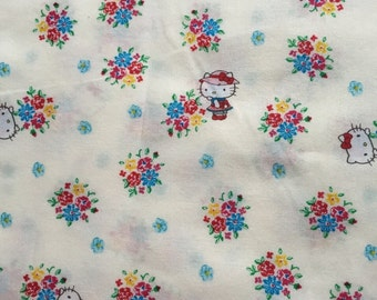Hello kitty  fabric 1.5  yard White colour fabric Special offer