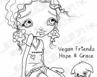 Digi Stamp Digital Instant Download Big Eye Girl and Kitten ~ Vegan Friends Hope N Grace Image No. 20 & 20B by Lizzy Love