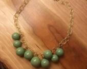 Vintage Celluloid 1930s Green Bubble Necklace 30s