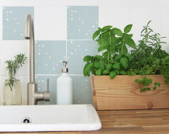 4 tile decals with dots