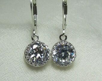 Bridesmaid Jewelry CZ Bridal Earrings Cubic Zirconia Bridesmaid Earrings Bridesmaid Gift Sterling Silver Bridal Jewelry Wedding Jewelry