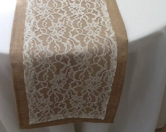 Burlap Table Runner with Lace, Wedding, Party, Home Decor, Choose Your Size, Custom Size Available