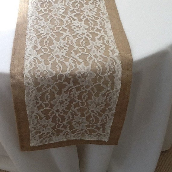 burlap table runner with lace wedding party home decor choose your