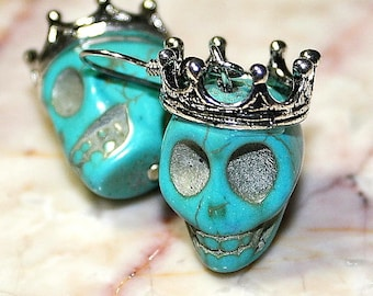 Day of the Dead Dia de los Muertos Traditional King Crown Turquoise Skull Dangle Original Earrings Atlanta Jewelry