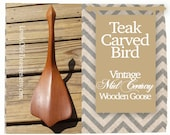 Mid Century Teak Bird Sculpture- Canadian Goose- Hand Carved- Middleton Canada- Vintage Wood Sculpture- Retro Modern Art- Vintage Home Decor