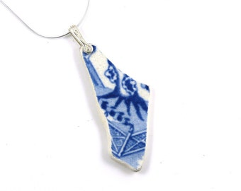 Blue and White Beach Pottery Necklace WILLOW