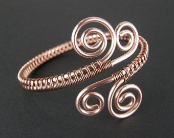 Copper Wire Bracelet 010, Handmade Bracelet, Copper Bangle Bracelet, Wire Wrapped Bangle. Eco-Friendly Bangle