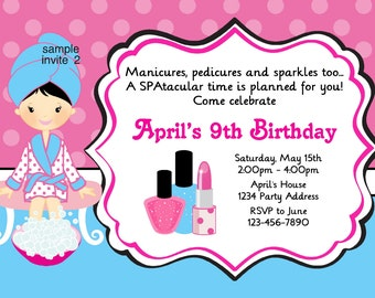 Spa Birthday Invitation - Birthday Party - Manicures - Blue Pink -  Digital JPEG File #2