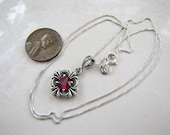 Art Nouveau Style Ruby CZ Sterling Silver Necklace, minimalist, 20 inches long