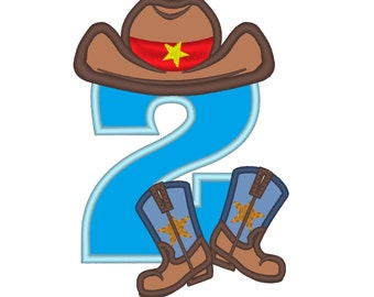 Cowboy Birthday kicking boots, only one any number to choose from the set - machine embroidery applique designs 5x7