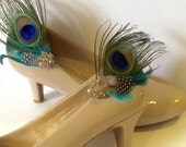 Peacock feather shoe clips pair eco feathers