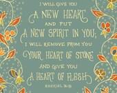 I will give you a new heart Ezekiel Bible print Teeeny