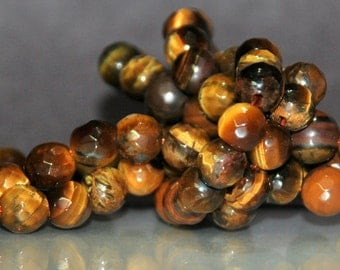 Half Strand 6mm Faceted Tiger Eye Gemstone Beads - 32 beads
