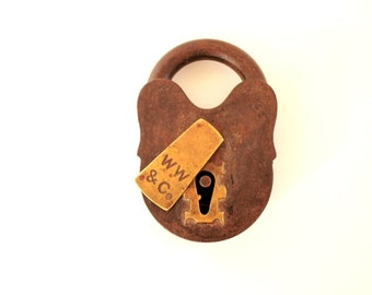 Vintage Padlock . alternative ring pillow . vintage lock . rustic wedding decor . love lock . rustic home decor rusty decor . grunge decor .