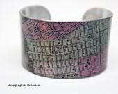 New York  Cuff Bracelet / Vintage Map Bracelet /  silver Cuff  No. 11