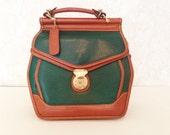 Woman's vintage handbag vintage purse crossbody bag genuine leather green leather purse brown leather bag large bag large purse keyhole bag