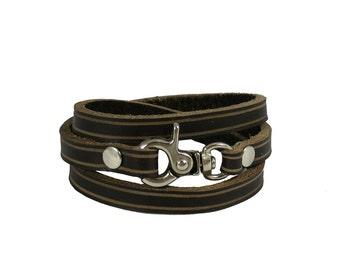 Leather wrist cuff, leather wrist band, cuff, wrist band, bracelet, natural,  leather, handmade, Melbourne, Australia, nickel hardware.